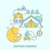 Exciting camping concept — Stock Vector