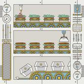 Hamburger factory — Stock Vector
