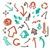Lovely doodle style arrows set — Stock Vector