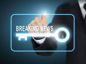 Male hand pressing breaking news key button — Stock Vector