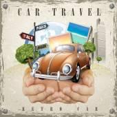 Vivid car travel poster design — Stock Vector