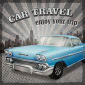 Κλασικό μπλε αυτοκίνητο αντίκα με ρετρό φόντο — Διανυσματικό Αρχείο