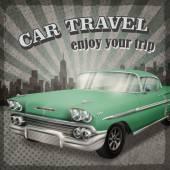 Veteran classic green car with retro background — Stock Vector