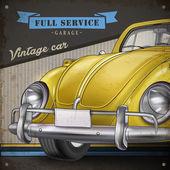 Klassiska små gula veteranbil — Stockvektor