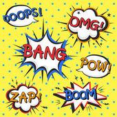 Aantrekkelijke komische geluidseffect set — Stockvector