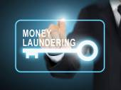 Male hand pressing money laundering key button — Stock Vector