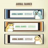 Adorable cartoon animal banner collection set — Stock Vector