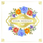 Gorgeous floral cards with golden frames — Stock Vector