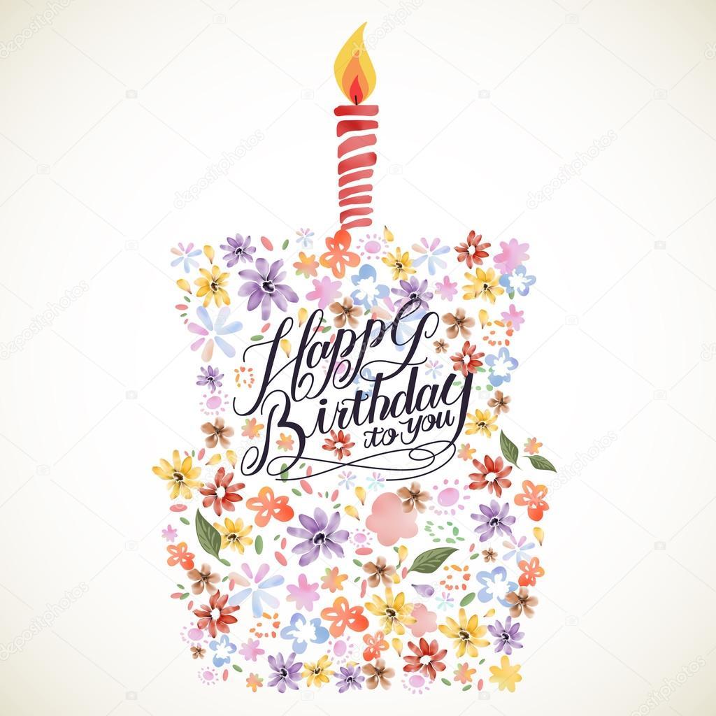 Happy Birthday Calligraphy Poster Design
