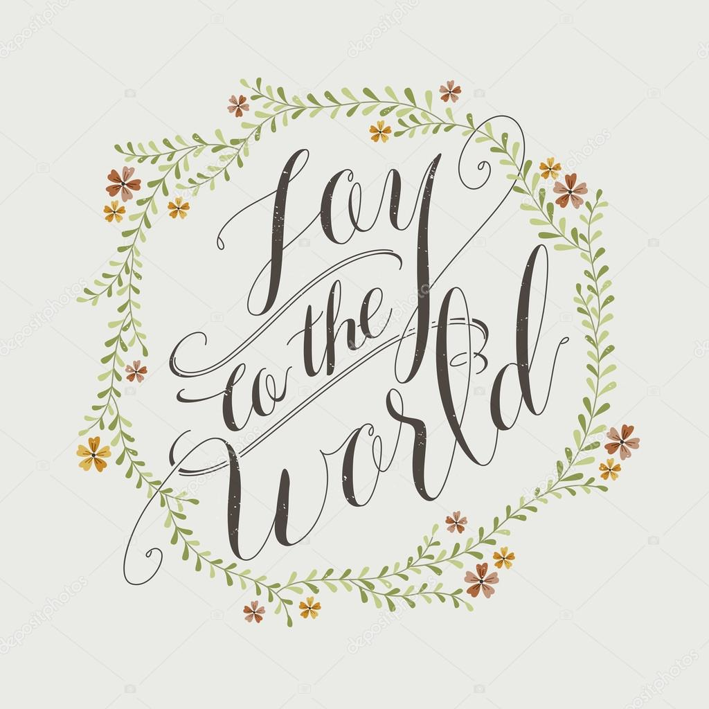 Joy to the world calligraphy design — stock vector