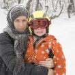 Young baby boy and his mother outdoor, winter time — Stock Photo #60398489