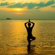 Yoga women silhouette, working on poses at sunset — Stock Photo #52165559