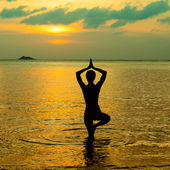 Yoga women silhouette, working on poses at sunset — Stock Photo