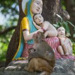 Macaque monkey with a baby next to a statue of the Madonna and Children in Rishikesh, India — Stock Photo #55474651