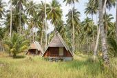 Overgrown tropical bungalows in the jungle on island Koh Kood, Thailand — Stock Photo
