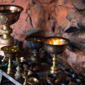 Icon-lamps in tibetan gompa — Stock Photo