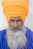 Portrait of Indian sikh man in turban with bushy beard — Stock Photo