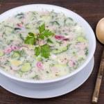 Vegetable soup on yogurt,  sour-milk base -  okroshka — Stock Photo #69908051