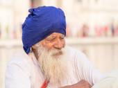 Sikh man visiting the Golden Temple in Amritsar, Punjab, India.  — Stock fotografie