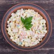 Russian traditional salad olivier with pea — Stock Photo #69934935