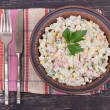 Russian traditional salad olivier with pea — Stock Photo #69934963