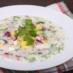 Vegetable soup on yogurt,  sour-milk base -  okroshka — Stock Photo #69938667