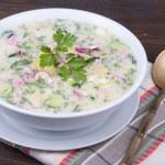 Vegetable soup on yogurt,  sour-milk base -  okroshka — Stock Photo #69938715