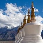 Buddhist chortens (stupa) and Himalayas mountains in the background near Shey Palace in Ladakh, India — Stock Photo #70063627