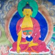 Masterpiece of traditional painting art about Buddha story on the temple wall in Tiksey Monastery. Ladakh, India — Stock Photo #70073589