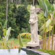 Traditional balinese stone sculpture in swimming pool . Island Bali, Ubud, Indonesia — Stock Photo #70107713