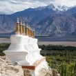 Buddhist chortens (stupa) and Himalayas mountains in the background near Shey Palace in Ladakh, India  — Stock Photo #70407139