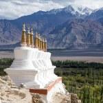 Buddhist chortens (stupa) and Himalayas mountains in the background near Shey Palace in Ladakh, India — Stock Photo #70407139