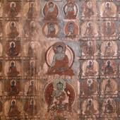 Masterpiece of traditional painting art about Buddha story on the temple wall in Tiksey Monastery. Ladakh, India — Stock Photo