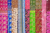 Assortment of colorful sarongs for sale, Island Bali, Ubud, Indonesia — Stock Photo