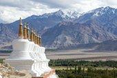 Buddhist chortens (stupa) and Himalayas mountains in the background near Shey Palace in Ladakh, India — Stock Photo