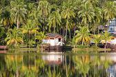 Beautiful mountain lake tropical resort — Stock Photo