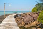 Wooden pier on the beautiful tropical beach in island Koh Kood , Thailand — Stock Photo