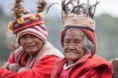 Portrait old ifugao people in national dress next to rice terraces. Ifugao - the people in the Philippines. Refers to the mountain peoples. — Stock Photo