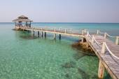 Wooden pier on the beautiful tropical beach in island Koh Kood , Thailand — Stok fotoğraf