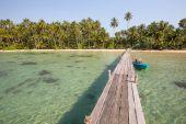 Wooden pier on the beach of Koh Kood island — Stock Photo