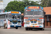 Regular public bus from Hikkaduwa to Galle. Buses are the most widespread public transport type in Sri Lanka. — Stock Photo
