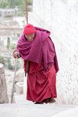 Old Tibetan Buddhist monk in Ladakh. India — Stock Photo