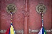 Door handle of gate door of gompa - Tibetan Buddhist monastery. Ladakh, India  — Stock Photo