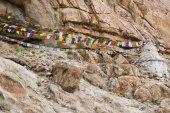 Colorful Buddhist prayer flags in Ladakh, India — Stock Photo