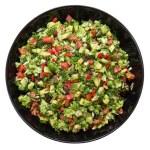 Salad with broccoli, red pepper, avocado, dill, raisins, sunflower seeds — Foto Stock #73659211