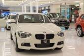 BMW 116i car on display at the Siam Paragon Mall in Bangkok. — Stock Photo