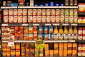 Selection canned foods in a supermarket Siam Paragon in Bangkok, Thailand — Stock Photo