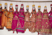 Colorful handmade puppets, India — Stock Photo