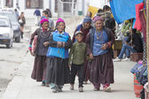 Tibetan Buddhist old women and boy on the streets in Leh. Ladakh, North India — Stock Photo