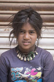 Portrait poor young girl in India — Stock Photo
